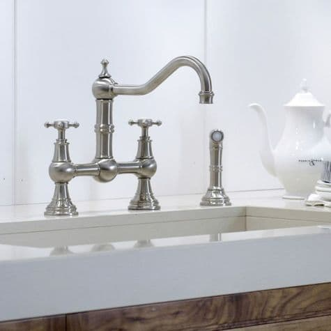 4755 Perrin & Rowe Provence Three Hole Sink Mixer Tap & Rinse
